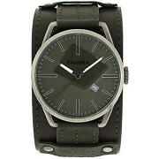 Mens Wide Leather Strap Watch