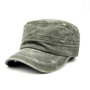Mens Womens Military Cadet Caps Hats Distressed Heavy Washed Pastel Khaki