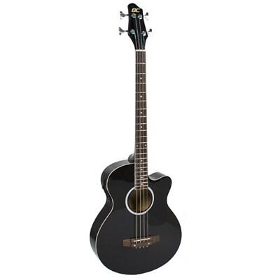 Electric Acoustic Bass Guitar Black Solid Wood Construction w/ Equalizer