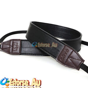 DSLR Camera Soft Leather Shoulder Neck Strap For Canon Nikon Pentax Sony Black