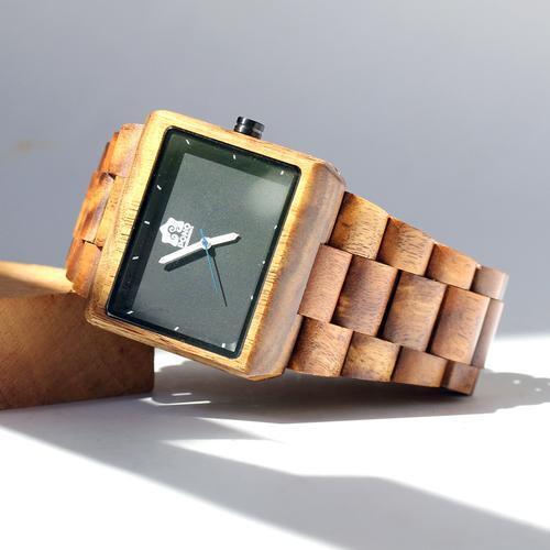 Beautiful Koa wood watch Black Square Face Premium Quality Free Shipping