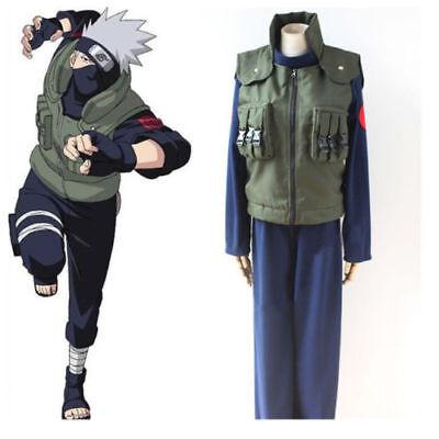 Kakashi Hatake Halloween Costume (Anime Naruto Cosplay Hatake Kakashi Hokage Vest Jonin Ninja Costume)