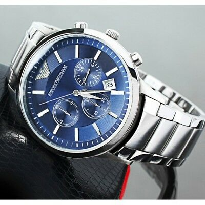 NEW EMPORIO ARMANI AR2448 STAINLESS STEEL CHRONOGRAPH BLUE DIAL MENS WATCH