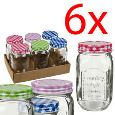 SET OF 6 MASON JAM JAR SAUCE STORAGE PRESERVE PICKLE CHUTNEY 450ML FOOD HONEY