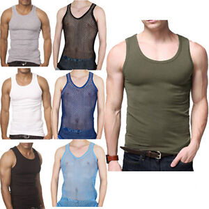 MENS-VEST-FITTED-100-COTTON-GYM-TRAINING-TANK-TOP-T-SHIRT-MESH-NEW-SLEEVELESS