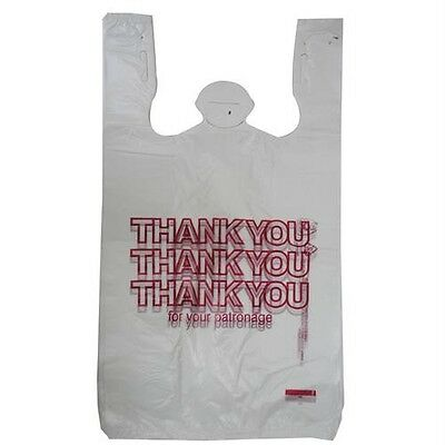"50 T-SHIRT THANK YOU PLASTIC SHOPPING GROCERY BAGS 11.5"" X 21"" X 6.5"" T HANDLE"