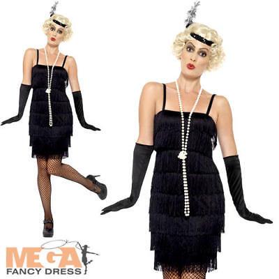 20s Black Flapper Ladies Fancy Dress 1920s Jazz Charleston Gastby Costume - Black Jazz Flapper Kostüm