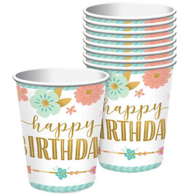 1st BIRTHDAY Boho Girl 9oz PAPER CUPS (8) ~ Party Supplies Beverage Drinking](Boho Birthday Party)