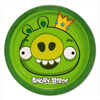 ANGRY BIRDS SMALL PAPER PLATES (8) ~ Birthday Party Supplies Cake Dessert Green](Angry Birds Birthday Cake)