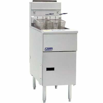 Pitco Natural Gas Fryer 40 - 50 Lbs 4 Burners Stainless Steel Tank Sg14-s