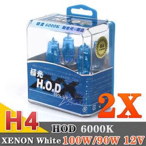 2x H4 100/90W HEADLIGHT GLOBES CAR LIGHT BULBS 6000K 12V XENON SUPER WHITE