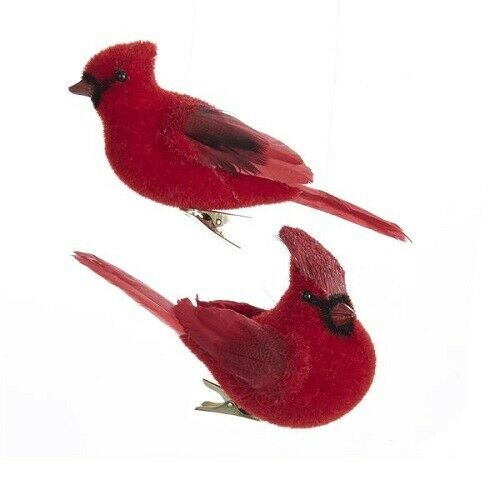 "KSA ""RED FLOCKED CARDINAL CLIP-ON ORNAMENTS"" ~ NEW ~ PRETTY!!!!!"