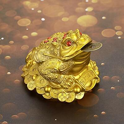 MDLUU Feng Shui Money Frog Large Money Toad Statue Three Legged Toad with Coi...
