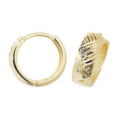 9ct Yellow Gold Diamond-cut Design Hinged Small Huggie/Hoops Womens Earrings Box 9 Cut Design Earrings