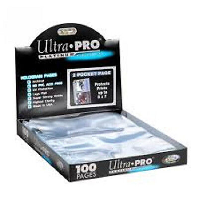 100 Ultra Pro Platinum 2 Pocket Pages 5 X 7 Sheets Protectors Brand New