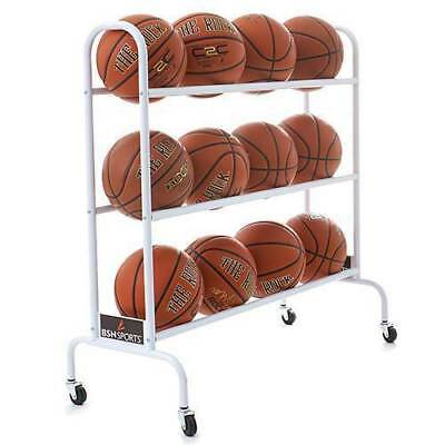 Basketball Storage Cart Ball Holder Organizer Rolling School Sports Team Wheeled