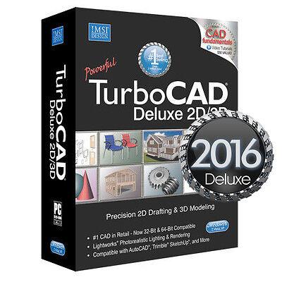 TurboCAD Deluxe 2016 2D CAD Design Software & 3D Modeling DVD New