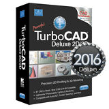 TurboCAD Deluxe 2016 2D CAD Design Software & 3D Modeling DVD New