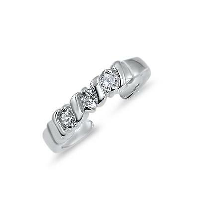 925 Sterling Silver Triple CZ Adjustable Toe Ring