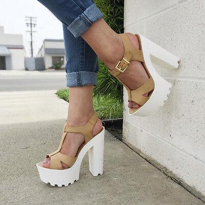 T Strap Peep Toe Chunky Platform Heels Faux Leather #LAB-S Faux Peep Toe