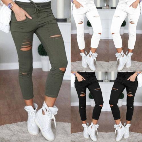 Leggings - Fashion Womens High Waisted Skinny Ripped Denim Pants Slim Pencil Jeans Trousers