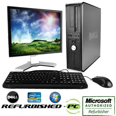 Clearance    Fast Dell Desktop Computer Pc Core 2 Duo Windows 10   Lcd   Kb   Ms