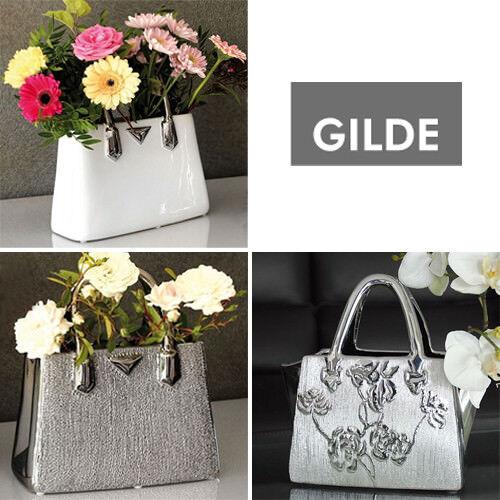 GILDE Deko Blumen Vase Tasche Handtasche weiss silber schwarz Rosen Keramik NEU