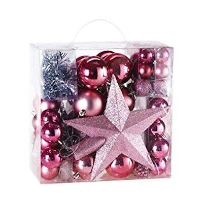 77 Palline Albero di Natale Addobbi Natalizi Magenta Stella e Sfere Rosa Corallo