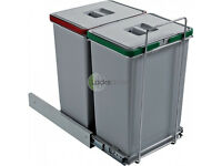 Ecofill Pull out twin kitchen bins system (2 x 24 Litres) for cabinets_NEW
