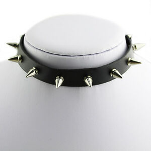 NEW SPIKE CHOKER LEATHER COLLAR SILVER TONE STUDS EMO METAL GOTHIC NECKLACE B8AK