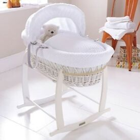 izzywotnot moses basket white whicker excellent condition with stand