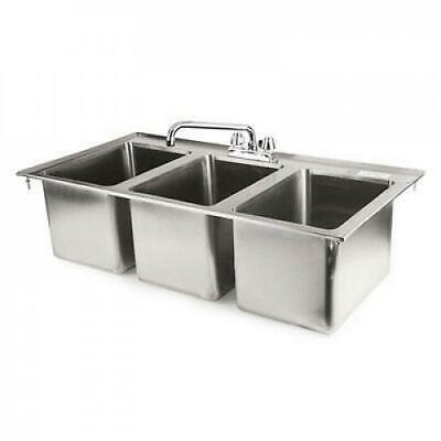 37 3-compartment Stainless Steel Kitchen Drop-in Sink With Faucet