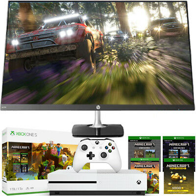 "Xbox One S 1TB Minecraft Bundle + HP 27"" Edge to Edge Full Gaming Monitor Bundle"