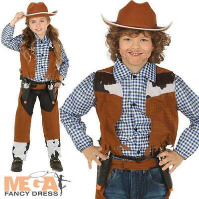 Cowboy Kids Fancy Dress Wild Western Cowgirl Boys Girls World Book Day Costume  (Cowboy Costumes For Girls)