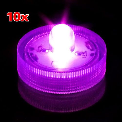 Submersible LED Decor Tea Light * Wedding or Events * (Pack of 10) Purple HY