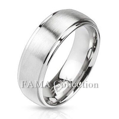 FAMA Stainless Steel Polished Edges & Brushed Center Dome Wedding Band (Brushed Stainless Steel Dome)