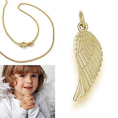Echt Gold 333 Engelflügel Anhänger Schutzengel Engels Flügel mit Silber Kette