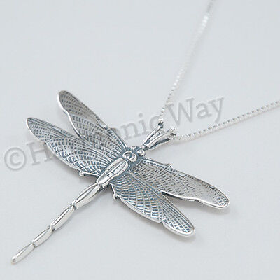 """Beautiful DRAGONFLY charm Pendant 18"""" chain Necklace 925 Sterling Silver Large"""