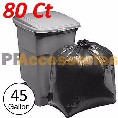 80 Pcs Heavy Duty 45 Gallon Extra Large Commercial Trash Bag Garbage Yard Black