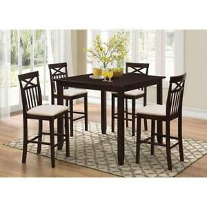 COUNTER HEIGHT DINING CHAIRS - 4PCS BROWN WOOD