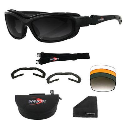 Bobster Road Hog II Biker Motorcycle Convertible Sunglasses Kit 4 Lens Options