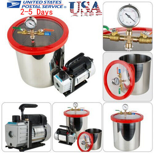5 Gallon Stainless Steel Vacuum Degassing Chamber Silicone Kit w/5 CFM Pump USA