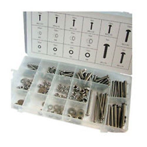 224 pc Stainless steel bolts and nuts M3 M4 M5 M6 plus box BRAND NEW