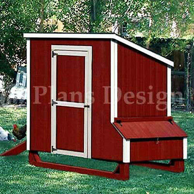 4x7 Lean-to Style Chicken Poultry Coop Plans 90407l