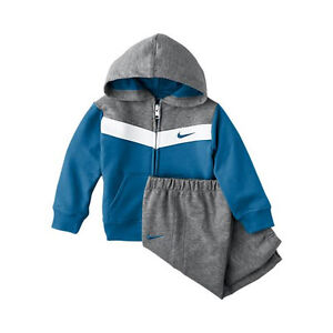 NIKE Trio Hooded Warm Up Infant Baby Tracksuit (3-36 Months) - Grey / Blue, 6-9