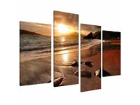 Large Sunset Beach Canvas Wall Art