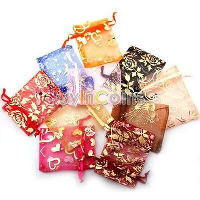 50pcs New Organza Jewelry Gift Present X-mas Pouch Bags 7x9cm Mixed Colors SA