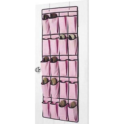 20 Pocket Hanging Over The Door Shoe Organiser Storage - Pink