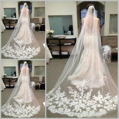 Brides Bridal Ivory Chapel Length Veil 1 Tier Lace Edge With Comb