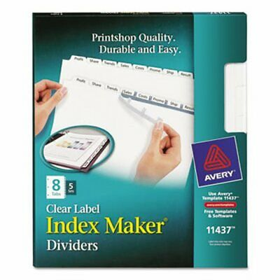 AVERY 11437 Index Maker Clear Label Dividers, 8-Tab, Letter,